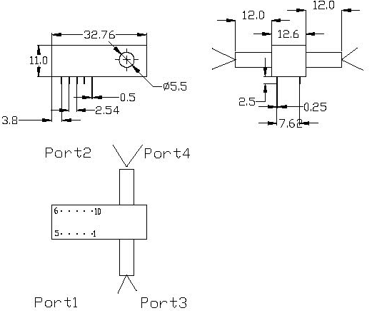Dimmension of Mechanical Switch 1X2